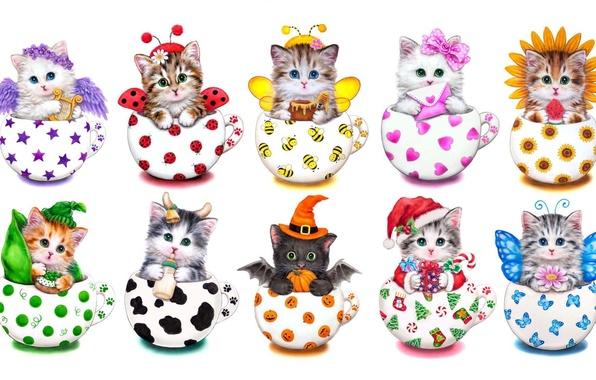 Picture figure, art, kittens, children's