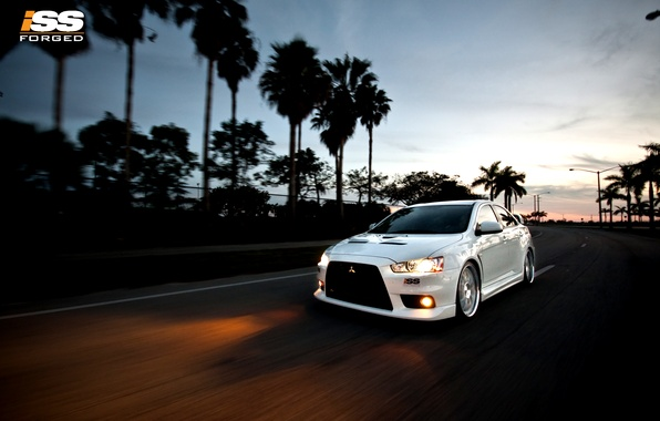 Picture road, machine, palm trees, sport, lights, speed, the evening, ISS, Mitsubishi Lancer