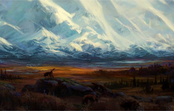 Picture forest, snow, mountains, birds, stones, wolf, valley, beast, painted landscape