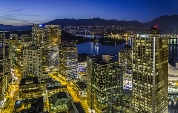 Picture light, night, the city, lights, building, home, skyscrapers, Canada, Vancouver, Canada, tall, Vancouver