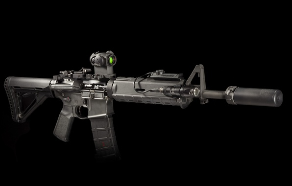 Picture weapons, background, flashlight, rifle, muffler, carabiner, assault, semi-automatic