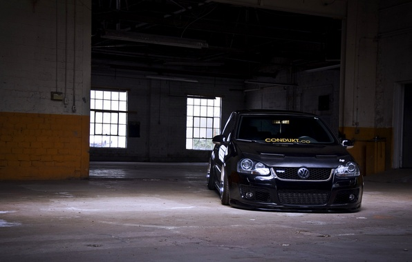Wallpaper Tuning Volkswagen Black Golf Gti MK5 Images For Desktop Section