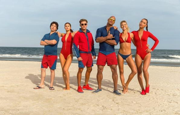 Picture cinema, girl, beach, sky, sea, woman, water, cloud, man, sand, movie, tatoo, brunette, Dwayne Johnson, ...