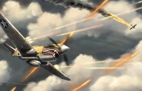 Picture war, shark, battle, aircraft, Aces High, baselineb