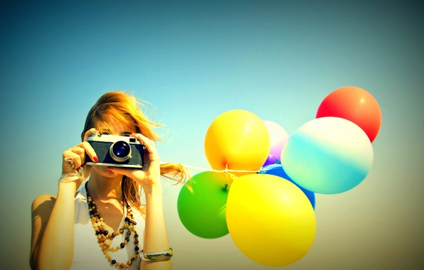 Picture the sky, girl, balls, background, widescreen, balls, Wallpaper, mood, colored, camera, the camera, wallpaper, air, …