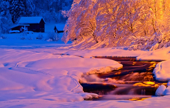 Picture winter, light, snow, night, nature, river, stream, the evening