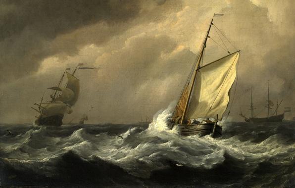Picture sea, wave, storm, ships, storm, picture, painting, sailors