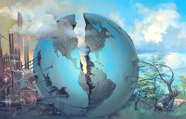 Picture animals, the globe, crack, Surrealism, John Pitre