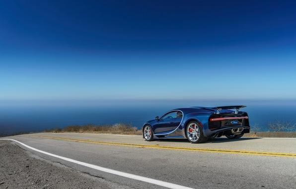 Picture road, car, machine, the sky, Bugatti, road, sky, Chiron