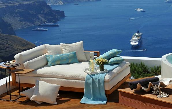 Picture sea, sofa, stay, ship, Greece, liner