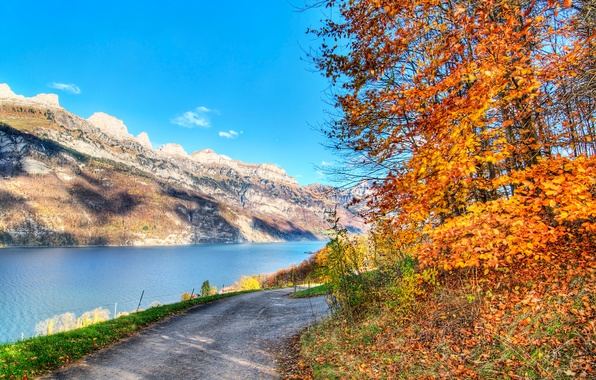 Picture road, autumn, the sky, leaves, trees, mountains, lake