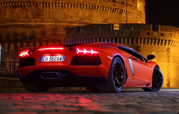 Picture night, red, pavers, lights, supercar, fortress, lamborghini, aventador, lp700-4, Lamborghini, aventador