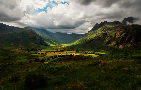 Picture the sky, clouds, light, mountains, clouds, hills, field, England, valley, shadows
