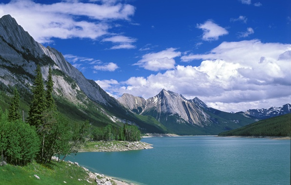 Picture water, trees, mountains, nature, lake, landscapes, beauty, Canada, types, lake, Medicine Lake, Jasper National Park