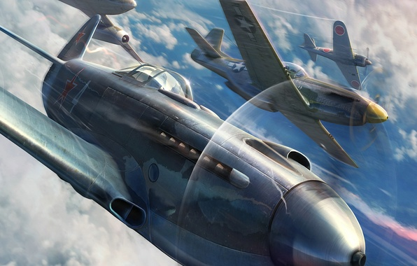 Picture The sky, Clouds, Aircraft, Aviation, Fighters, Camouflage, Wargaming Net, World of Warplanes, World Of Aircraft, …