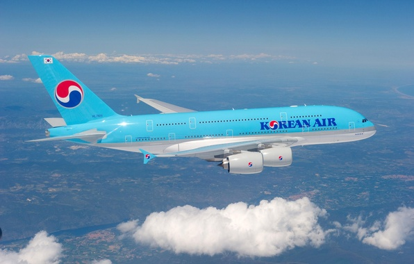 Picture The sky, Clouds, Flight, Flight, Clouds, Sky, A380, The plane, Airbus, Aircraft, Korean Air