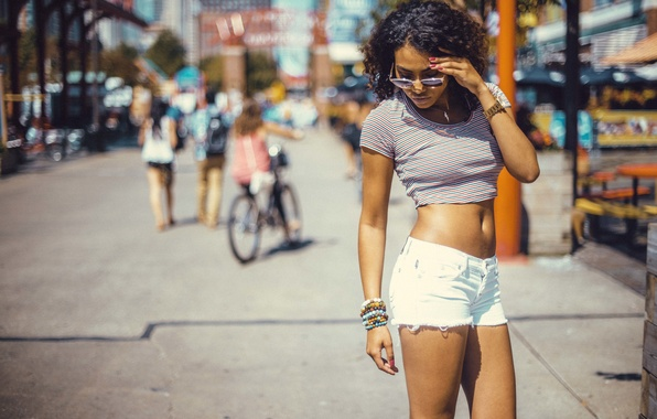Picture girl, pose, street, feet, shorts, glasses, curls, curls