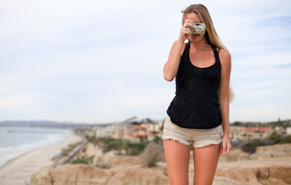 Picture girl, smile, background, the camera, legs