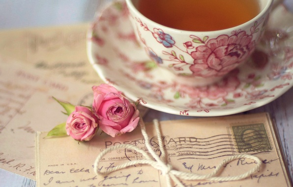 Picture flowers, tea, roses, Cup, pink, bow, letters, cards