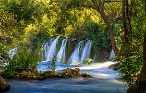 Picture greens, water, trees, river, waterfall, stream, Bosnia and Herzegovina, Kravice Falls