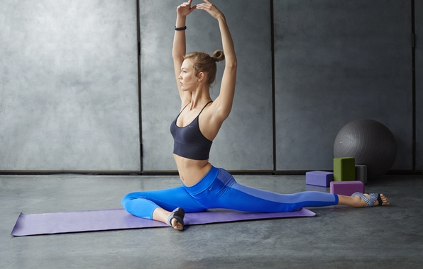 Picture blonde, pose, workout, yoga, elongation