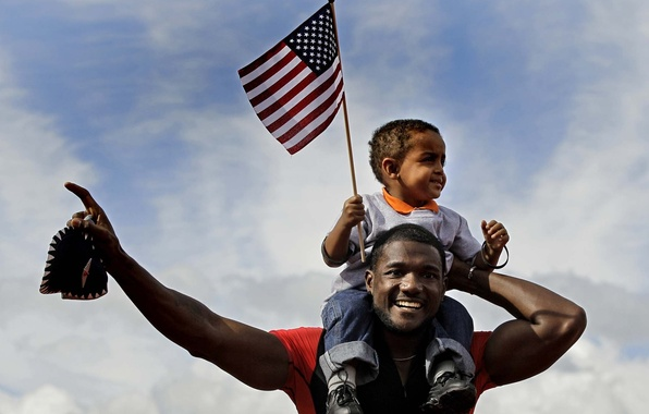 Picture the sky, boy, flag, athlete, male, child, runner, Negros, black, Justin Gatlin, Justin Gatlin, African …