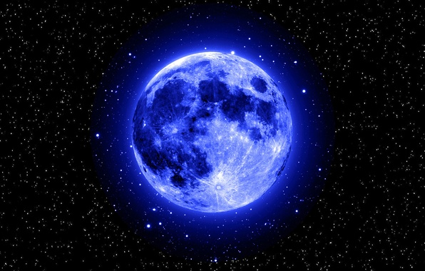 Picture space, stars, the moon, blue