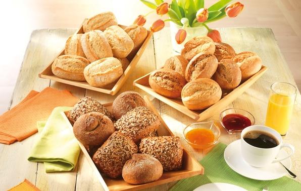 Picture coffee, food, Breakfast, juice, plate, spoon, Cup, vase, seeds, saucer, cakes, jam, sesame, buns, swipe, …