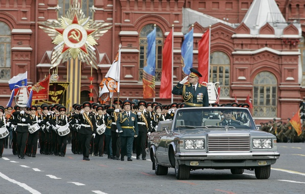 Picture holiday, soldiers, Moscow, General, flags, Russia, Red square, car, May 9, army, rides, troops, March, …