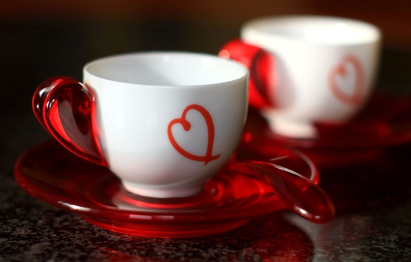 Picture red, heart, spoon, Cup, white, spoon, red heart, White cups