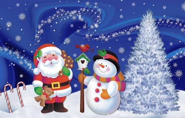 Picture snow, snowflakes, mood, holiday, new year, art, snowman, Santa Claus, herringbone