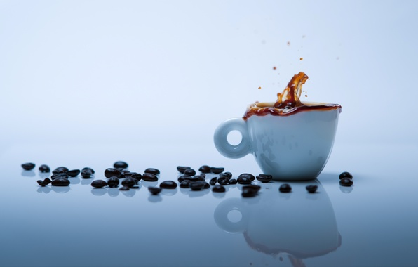 Picture squirt, reflection, table, background, Wallpaper, coffee, grain, Cup