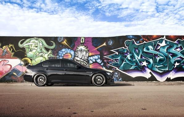 Picture the sky, clouds, black, graffiti, BMW, BMW, black, E90