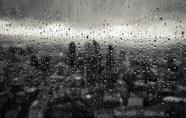 Picture glass, drops, macro, the city, rain, window