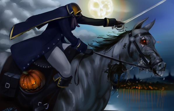 Picture night, the moon, horse, pumpkin, rider, head, Halloween, without, dead