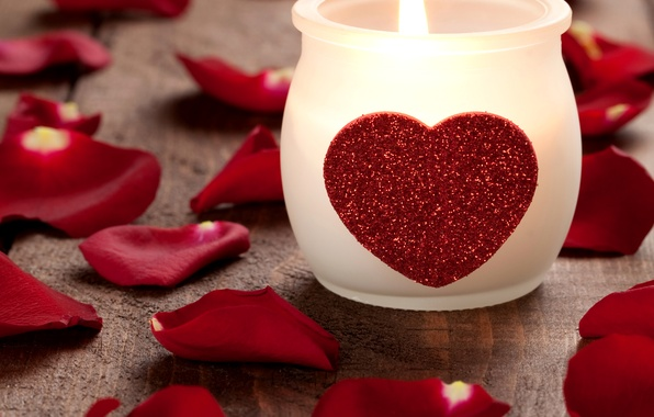 Picture photo, Heart, Candle, Petals, Holiday, Valentine's day
