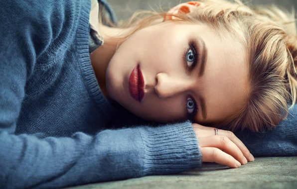 Picture girl, photo, photographer, blue eyes, model, beauty, lips, ring, face, blond, portrait, mouth, lipstick, sweater, …