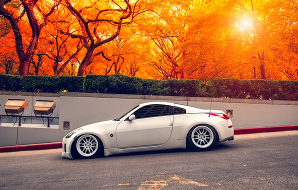 Picture white, nissan, sports car, 350z, Nissan, stance