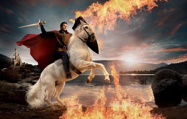 Picture castle, fire, flame, sword, cloak, David Beckham, David Beckham, Prince on a white horse