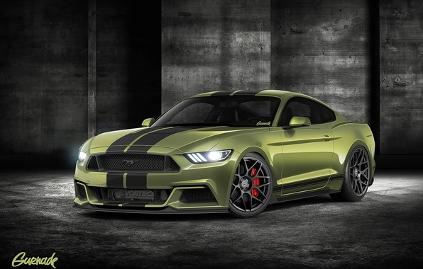 Picture green, Mustang, Ford, by Gurnade