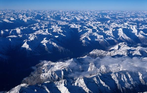 Picture Mountains, Snow, horizon, China