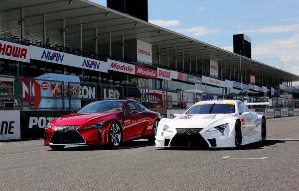 Picture auto, Lexus, red, white, cars, Lexus, two, track