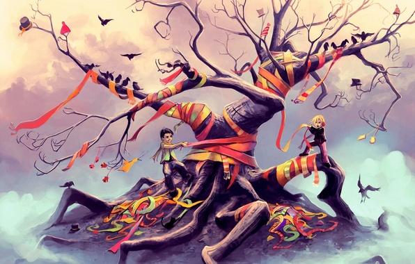 Picture birds, children, tape, fantasy, tree, art, caps