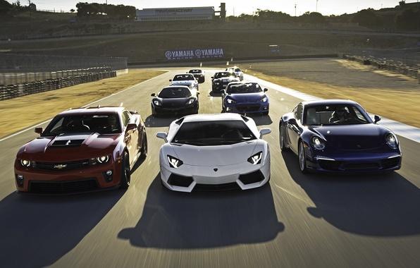 Picture race, class, track, sports cars, Chevrolet Camaro, McLaren MP4-12C, Lamborghini LP700-4 Aventador, subaru brz 2.0 …