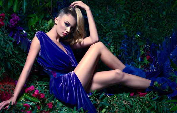 Picture girl, flowers, nature, pose, arrows, model, hair, makeup, tail, legs, blue dress, Cailin Russo