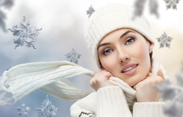 Picture winter, face, smile, woman, Girls, eyes, lips, hands