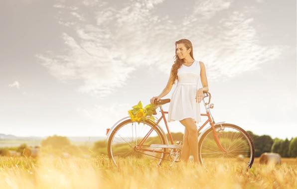 Picture field, girl, bike, sunflower, hay