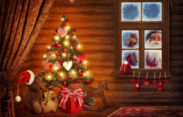Picture decoration, Windows, tree, new year, Christmas, hat, the hood, bear, gifts, hearts, windows, decoration, christmas, …