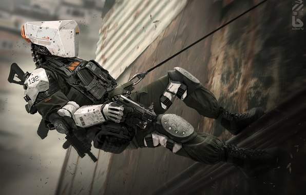 Picture gun, fiction, wall, robot, cyborg, cyberpunk, swat, special forces