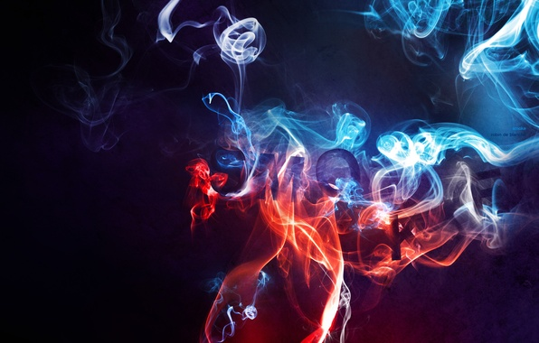 Picture blue, red, background, smoke, dark, couples, smoke